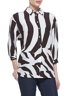 Escada 3/4-Sleeve Zebra-Print Blouse