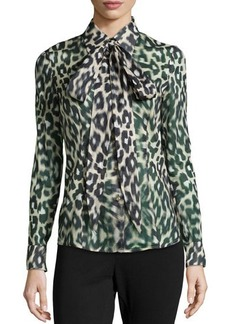 Escada Animal-Print Tie-Neck Top