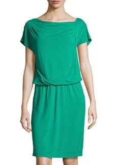 Escada Asymmetric Draped Soft Jersey Dress, Green