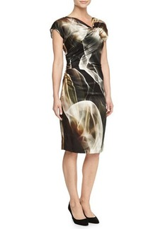 Escada Asymmetric-Neck Printed Jersey Dress