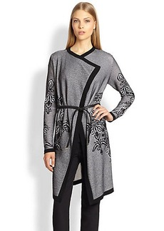 Escada Belted Lace-Knit Cardigan