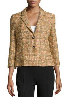 Escada Bogna Tweed Two-Button Blazer, Cactus