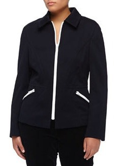 Escada Bonnie Zip-Trim Jacket, Navy