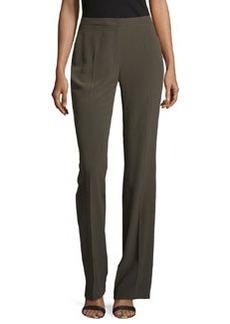 Escada Boot-Cut Silk Pants, Olive