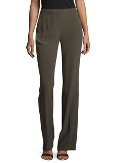 Escada Boot-Cut Silk Pants, Olive