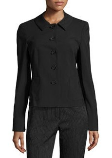 Escada Byrte Bow-Button Suiting Jacket, Black