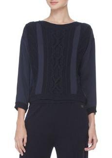 Escada Cable-Detailed Silk Sweater, Navy