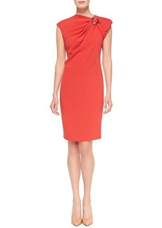 Escada Cap-Sleeve Dress W/ Buckle Accent
