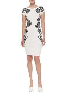 Escada Cap-Sleeve Dress w/ Embroidered Flowers