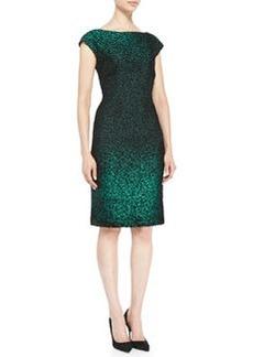 Escada Cap-Sleeve Metallic Sheath Dress, Green/Black