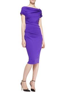 Escada Cap-Sleeve Ruched Dress, Purple
