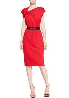 Escada Cap-Sleeve Ruffle Detail Dress with Belt, Garnet Red