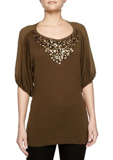 Escada Cashmere-Blend Jeweled Top