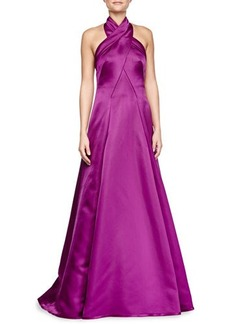 Escada Charmeuse Gown with Crisscross Halter