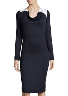 Escada Contrast-Shoulder Knit Dress, Dark Blue/White