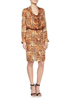 Escada Cowl-Neck Printed Dress W/ Trim