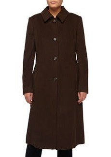 Escada Crisca Wool-Cashmere Long Coat, Dark Brown
