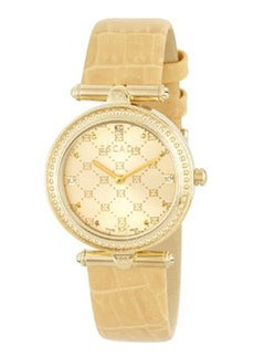 Escada Croc-Embossed Ion Gold-Plated Two-Hand Vanessa Watch, Sand