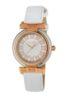 Escada Croc-Embossed Leather Three-Hand Lauren Watch, White