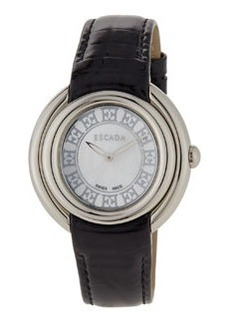 Escada Croc-Embossed-Leather Two-Hand Ivory Watch, Black