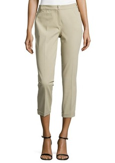 Escada Cuffed Ankle Pants, Khaki