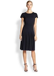 Escada Dondi Pleated Silk Drop-Waist Dress