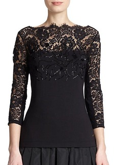 Escada Embellished Lace & Jersey Top