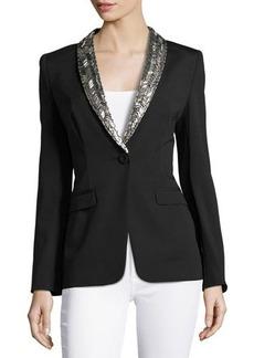 Escada Embellished Lapel Single-Button Jacket, Black