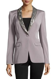 Escada Embellished Lapel Single-Button Jacket, Platinum