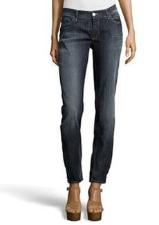 Escada Embroidered-Pocket Faded Straight-Leg Jeans, Medium Blue