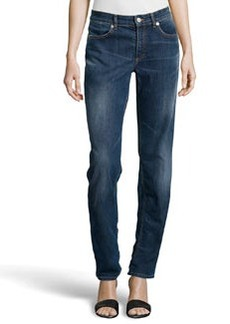 Escada Embroidered-Pocket Straight-Leg Jeans, Medium Blue