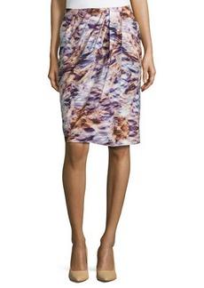 Escada Floral-Print Faux-Wrap Pencil Skirt, Fantasy