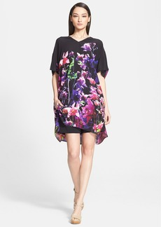ESCADA Floral Print Silk Caftan Dress