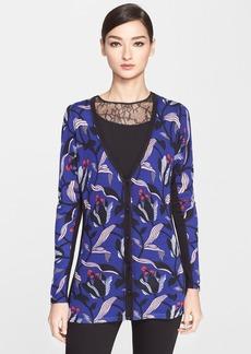 ESCADA Floral Print Wool & Silk Cardigan