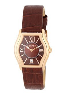Escada Grace Watch with Croc-Embossed Leather Strap, Brown