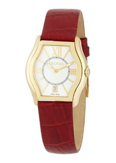 Escada Grace Watch with Croc-Embossed Leather Strap, Red