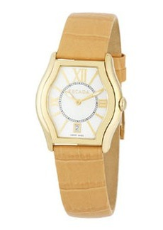 Escada Grace Watch with Croc-Embossed Leather Strap, Yellow