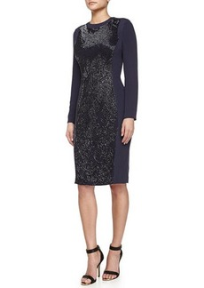Escada Graduated Floral Hand-Embroidered Dress