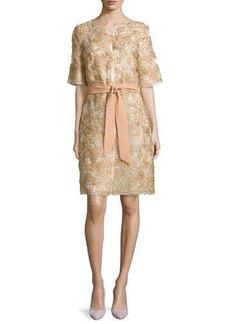 Escada Half-Sleeve Floral-Applique Coat, Gold
