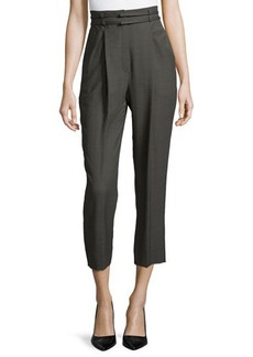 Escada High-Waist Pleated-Front Cropped Pants, Granite