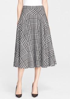 ESCADA Houndstooth A-Line Midi Skirt