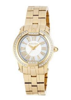 Escada Ion-Gold Plated Madelene Three-Hand Watch w/ Diamonds