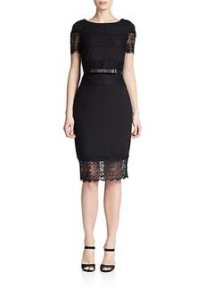 Escada Jersey & Lace Belted Dress