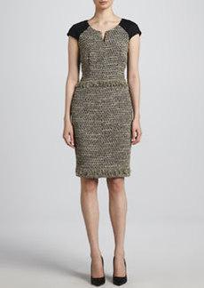 Escada Jersey-Sleeve Tweed Dress, Anthracite/Black
