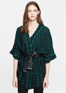 ESCADA Leather Belted Jacquard Knit Cardigan