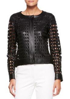 Escada Leather Cutout-Grid Jacket, Black