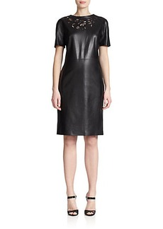 Escada Leather Embroidered-Detail Dress