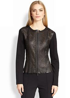 Escada Leather Lace & Jersey Jacket