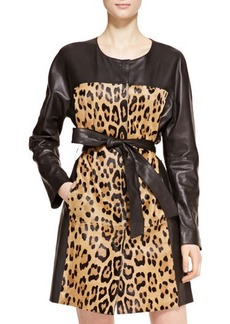 Escada Leather Leopard Trench Coat