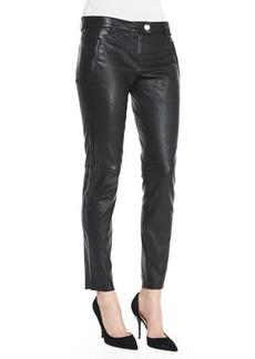 Escada Leather Skinny Pants, Black